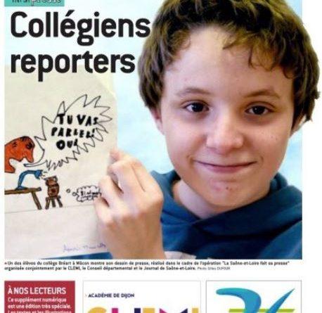 Apprentis journalistes en Saône et Loire : les articles des collégiens reporters sont en ligne sur le JSL  !