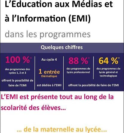 L'Éducation aux médias et à l'information dans les programmes.